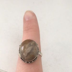 Jewelry - Metal cocktail ring with light brown stone